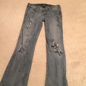 "Silver Distressed/Destroyed Jeans Frances 17"""